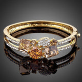 Gold Plated Caramel Crystal Bangle - KHAISTA Fashion Jewellery