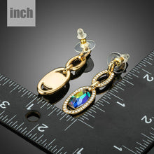 Load image into Gallery viewer, Gold Plated Chain Circles Drop Earrings - KHAISTA Fashion Jewellery