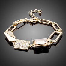 Load image into Gallery viewer, Gold Plated Champagne Crystal Bracelet - KHAISTA Fashion Jewellery