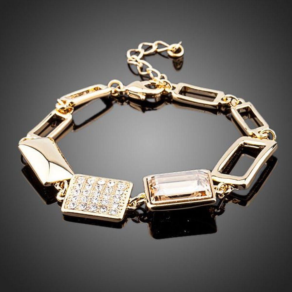 Gold Plated Champagne Crystal Bracelet - KHAISTA Fashion Jewellery