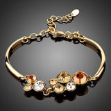 Gold Plated Crystal Cluster Bracelet - KHAISTA Fashion Jewellery