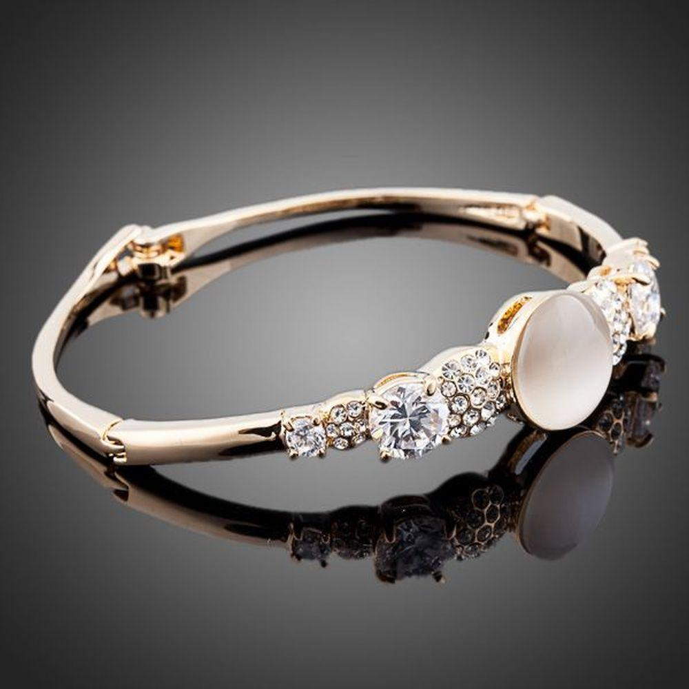 Gold Plated Cubic Zirconia Bracelet Bangle - KHAISTA Fashion Jewellery