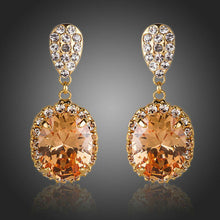 Load image into Gallery viewer, Gold Plated Cubic Zirconia Caramel Drop Earrings - KHAISTA Fashion Jewellery