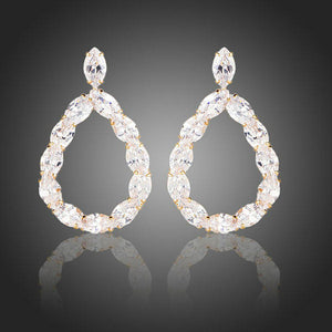 Gold Plated Cubic Zirconia Chain Drop Earrings - KHAISTA Fashion Jewellery
