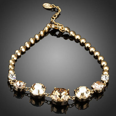 Gold Plated Cubic Zirconia Charm Bracelet - KHAISTA Fashion Jewellery