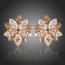 Load image into Gallery viewer, Gold Plated Cubic Zirconia Flower Shaped Stud Earrings - KHAISTA Fashion Jewellery