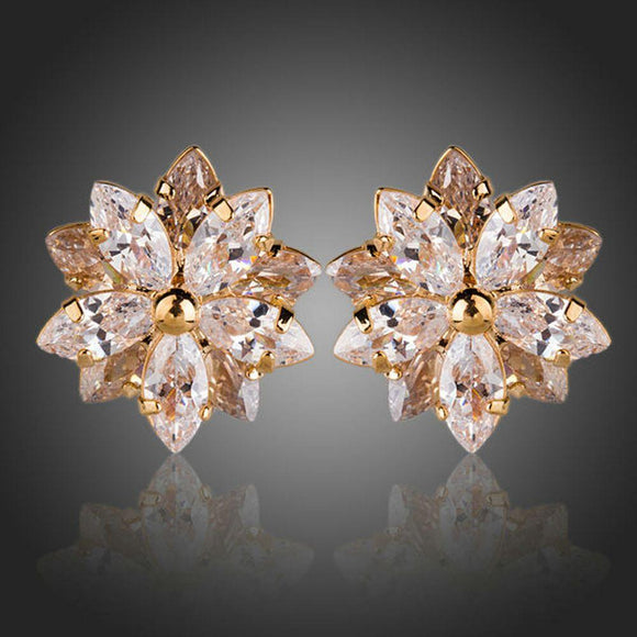 Gold Plated Cubic Zirconia Flower Shaped Stud Earrings - KHAISTA Fashion Jewellery