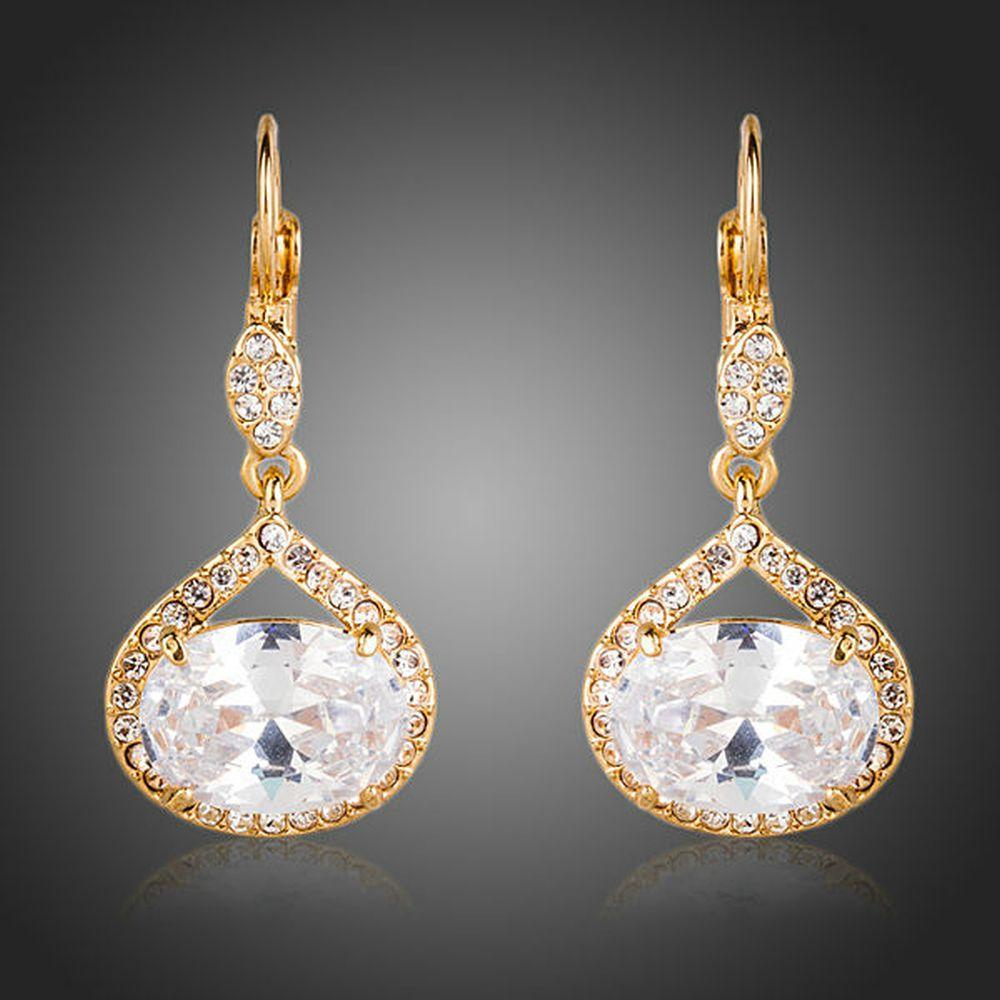Gold Plated Cubic Zirconia Love Drop Earrings - KHAISTA Fashion Jewellery