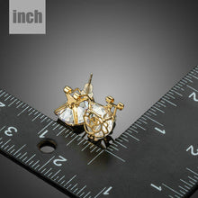 Load image into Gallery viewer, Gold Plated Flower Shaped Cubic Zirconia Earrings - KHAISTA Fashion Jewellery