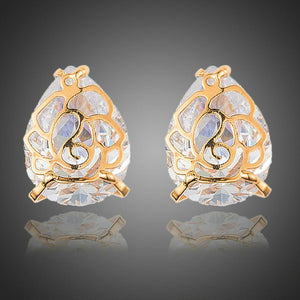 Gold Plated Flower Shaped Cubic Zirconia Earrings - KHAISTA Fashion Jewellery