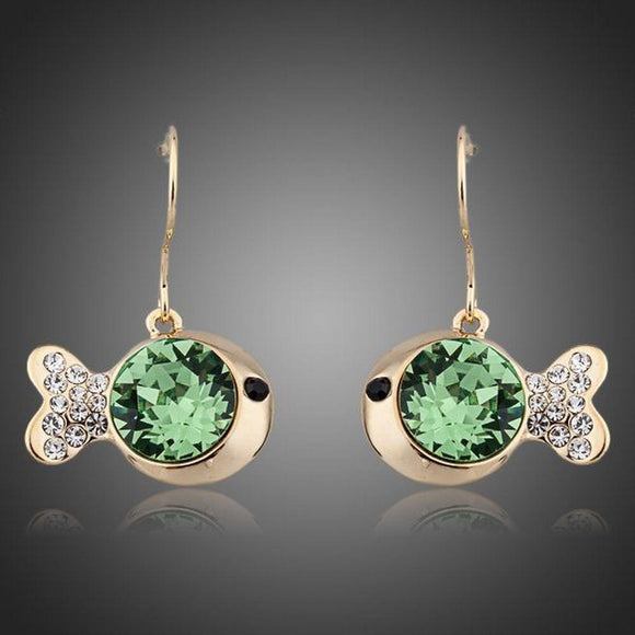 Gold Plated Green Crystal Fish Drop Earrings - KHAISTA Fashion Jewellery
