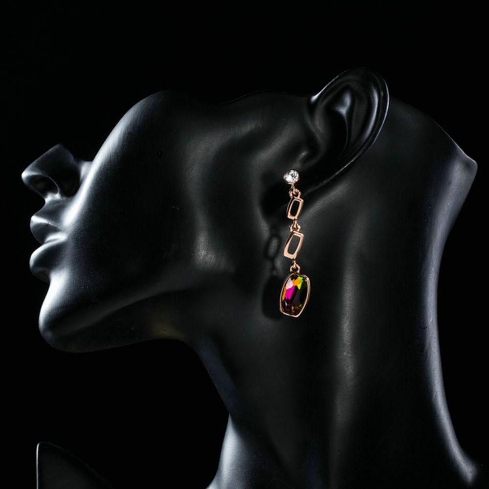 Gold Plated Lamé Curved Crystal Drop Earrings - KHAISTA Fashion Jewellery
