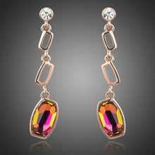 Load image into Gallery viewer, Gold Plated Lamé Curved Crystal Drop Earrings - KHAISTA Fashion Jewellery