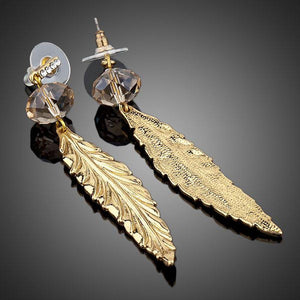 Gold Plated Leaf Drop Earrings - KHAISTA Fashion Jewellery