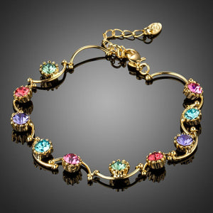 Gold Plated Muffin Crystal Bracelet - KHAISTA Fashion Jewellery