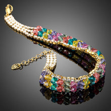 Load image into Gallery viewer, Gold Plated Multicolor Crystal Beads Charm Bracelet - KHAISTA Fashion Jewellery