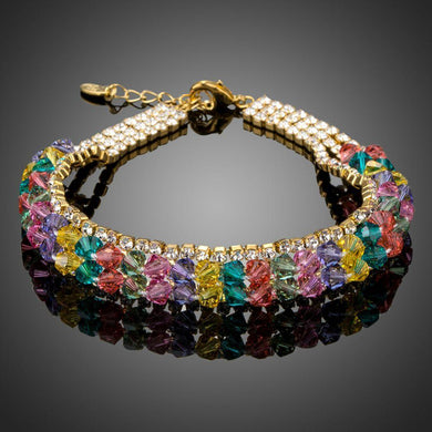 Gold Plated Multicolor Crystal Beads Charm Bracelet - KHAISTA Fashion Jewellery
