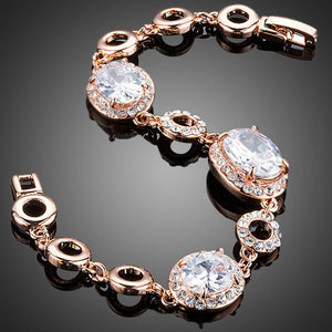 Gold Plated Oval Cubic Zirconia Bracelet - KHAISTA Fashion Jewellery