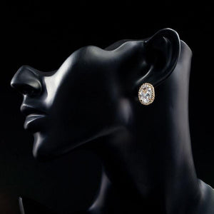Gold Plated Oval Stud Earrings - KHAISTA Fashion Jewellery
