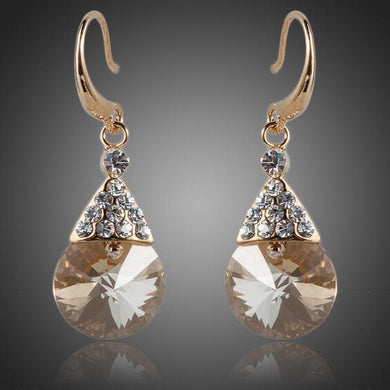 Gold Plated Raindrop Crystal Drop Earrings - KHAISTA Fashion Jewellery