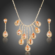 Load image into Gallery viewer, Gold Plated Red Crystals Waterdrop Jewelry Set - KHAISTA Fashion Jewellery
