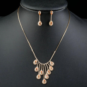 Gold Plated Red Crystals Waterdrop Jewelry Set - KHAISTA Fashion Jewellery