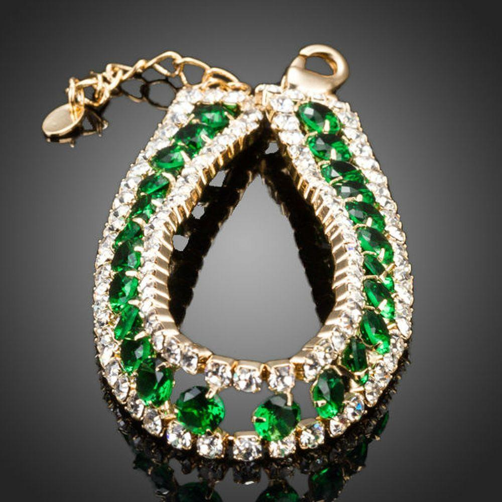 Gold Plated Round Crystal Green Bracelet - KHAISTA Fashion Jewellery