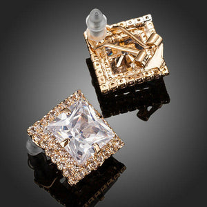 Gold Plated Square Cubic Zirconia Stud Earrings - KHAISTA Fashion Jewellery