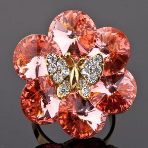 Golden Butterfly on Flower Adjustable Ring -KFR0057 - KHAISTA