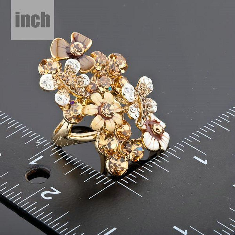 Golden Champagne Flowers Ring -KFR0030 - KHAISTA