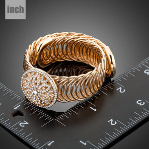 Golden Crystal Metal Hollow Circle Bangle -KBQ0083 - KHAISTA Fashion Jewelry