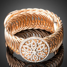 Load image into Gallery viewer, Golden Crystal Metal Hollow Circle Bangle -KBQ0083 - KHAISTA Fashion Jewelry