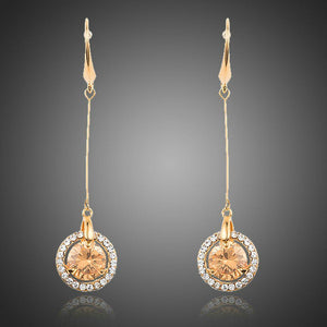 Golden Cubic Zirconia Drop Earrings - KHAISTA Fashion Jewellery