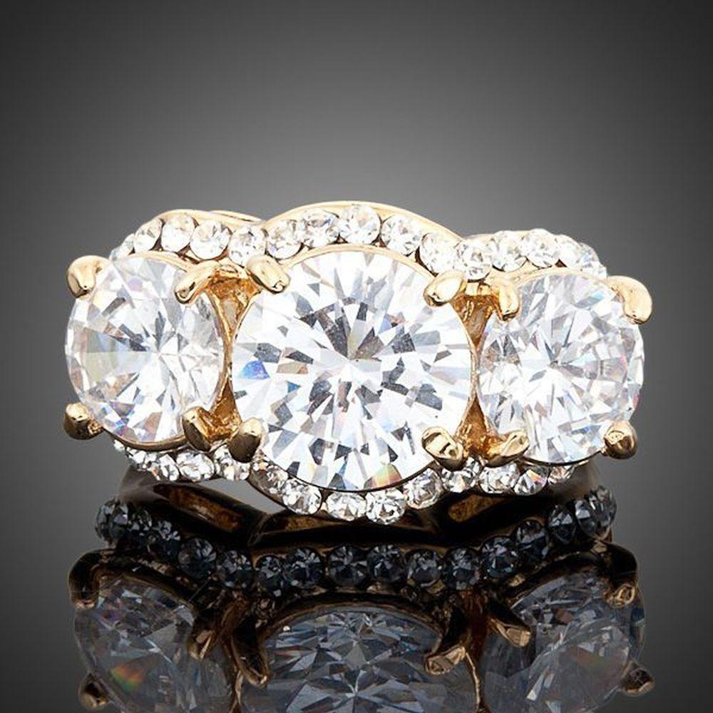 Golden Cubic Zirconia Ring -KFR0011 - KHAISTA