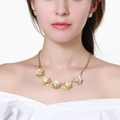 Golden Flower Pearl Stud Earring And Necklace Jewellery Set - KHAISTA Fashion Jewellery