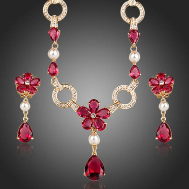 Golden Garnet Flower CZ Water Drop Jewelry Set - KHAISTA Fashion Jewellery