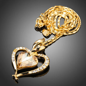 Golden Heart Necklace Love Link Chain - KHAISTA Fashion Jewellery