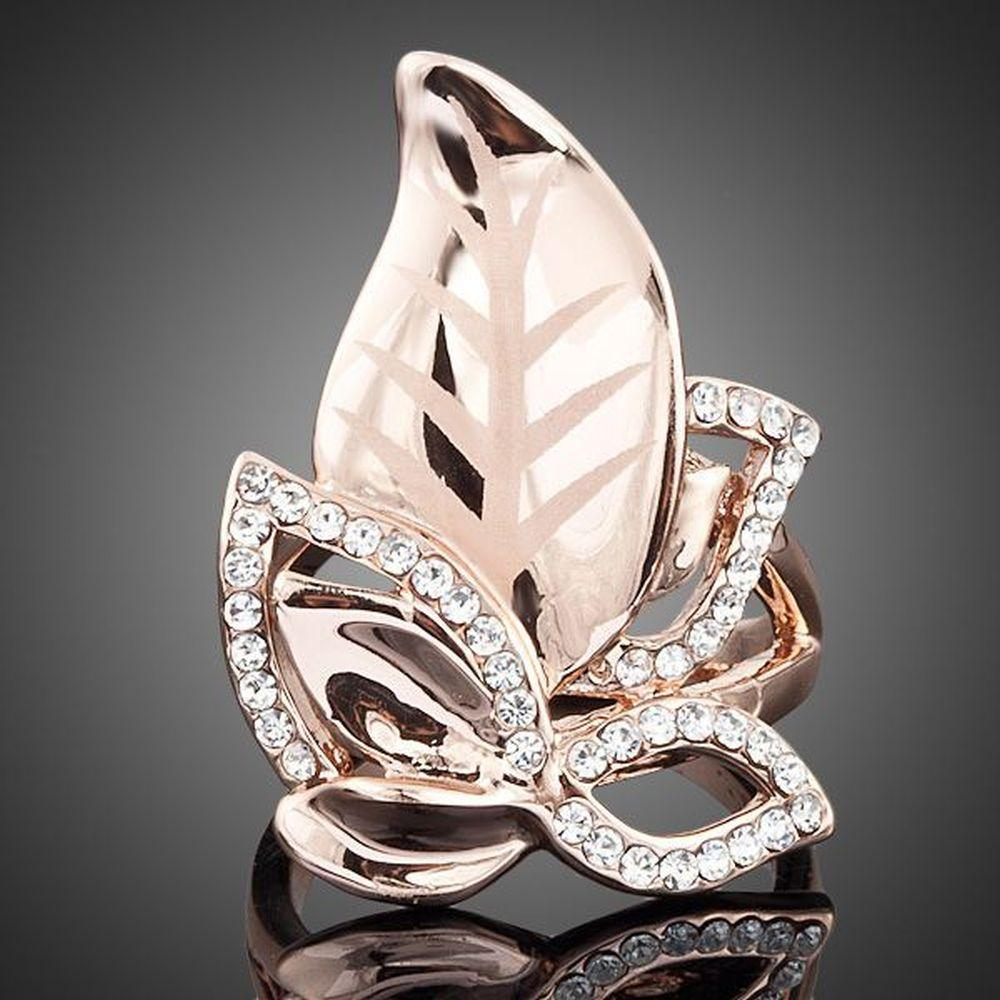 Golden Leaves Design Ring -KFR0007 - KHAISTA