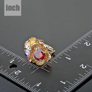 Golden Multicolor Crystal Adjustable Ring -KFR0061 - KHAISTA