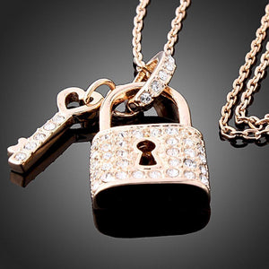 Golden Padlock Love Key Necklace - KHAISTA Fashion Jewellery