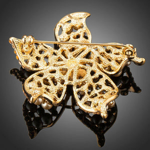 Golden Pearl Flower Pin Brooch - KHAISTA Fashion Jewellery