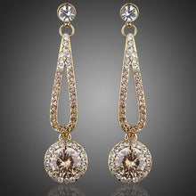 Load image into Gallery viewer, Golden Round Cubic Zirconia Drop Earrings -KPE0048 - KHAISTA Fashion Jewellery