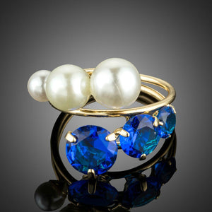 Golden Simulated Pearl Finger Ring - KHAISTA Fashion Jewellery