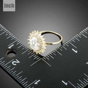 Golden Sunflower Cubic Zirconia Ring - KHAISTA Fashion Jewellery