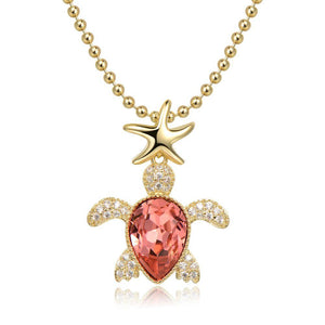Golden Tortoise Pendant Necklace -KFJN0290 - KHAISTA5
