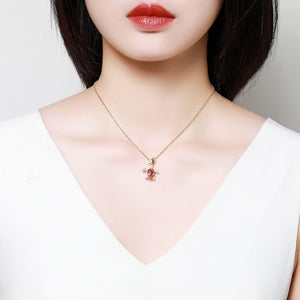 Golden Tortoise Pendant Necklace -KFJN0290 - KHAISTA4