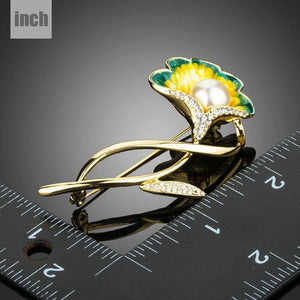 Golden Tree Branch Simulated Pearl Artistic Flower Brooch - KHAISTA Fashion Jewellery