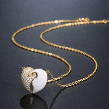 Load image into Gallery viewer, Golden White Studded Heart Necklace - KHAISTA Fashion Jewellery