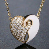 Golden White Studded Heart Necklace - KHAISTA Fashion Jewellery
