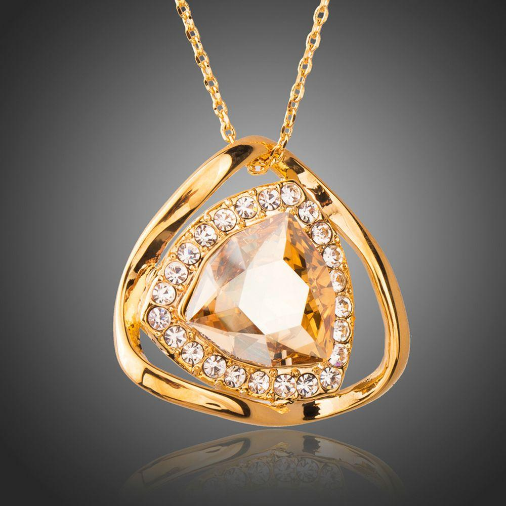 Gorgeous Big Champagne Austrian Crystals Pendant Necklace - KHAISTA Fashion Jewellery